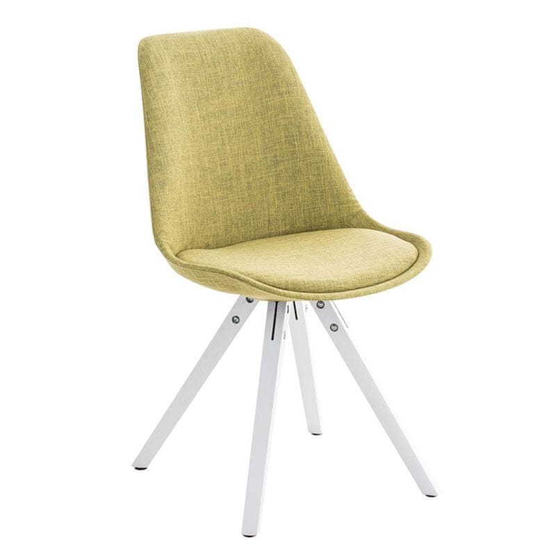 BHM Germany Jídelní židle Damian II., bílá podnož (SET 2 ks), zelená
