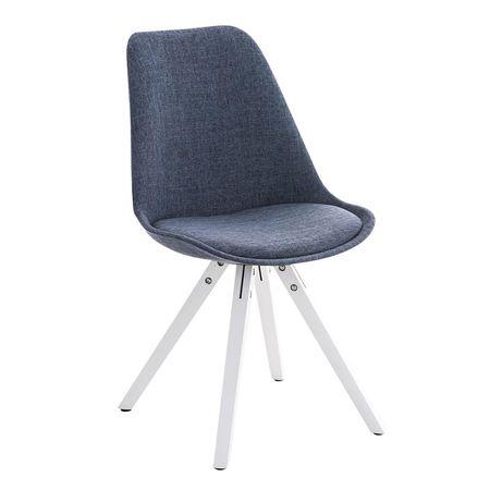 BHM Germany Jídelní židle Damian II., bílá podnož (SET 2 ks), modrá
