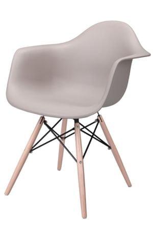 Mørtens Furniture Jídelní židle s dřevěnou podnoží Blom, šedá