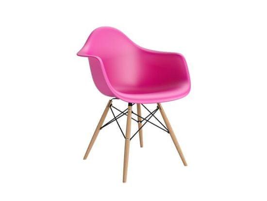 shumee P018W PP temno roza stol, VF lesene noge
