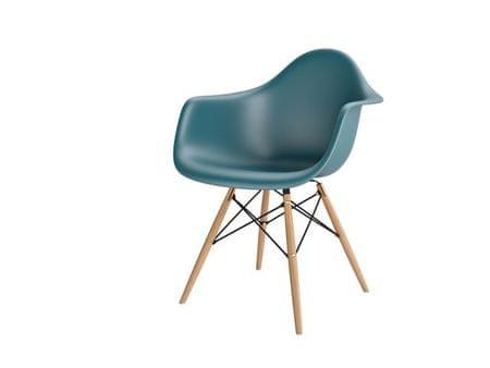 Mørtens Furniture Jídelní židle s dřevěnou podnoží Blom, navy green