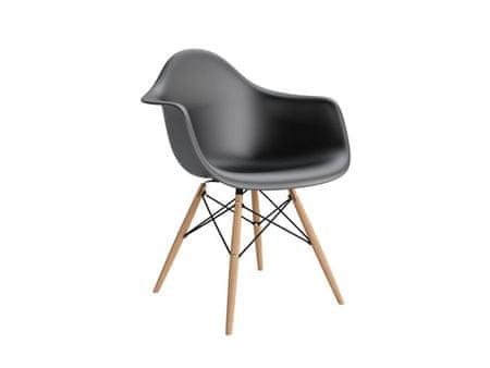 Mørtens Furniture Jídelní židle s dřevěnou podnoží Blom, černá