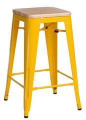 shumee Bárszék Paris Wood 65cm sárga fenyő természetes len