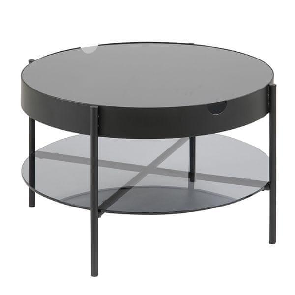 Design Scandinavia Konferenční / servírovací stolek Lipton, 75 cm, kouřové sklo
