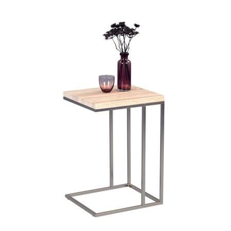 Artenat Odkládací stolek Ragnar, 43 cm, Sonoma dub/nerez