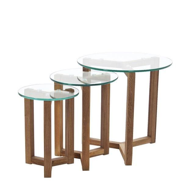 Design Scandinavia Konferenční stolky skleněné Japan, sada 3 ks