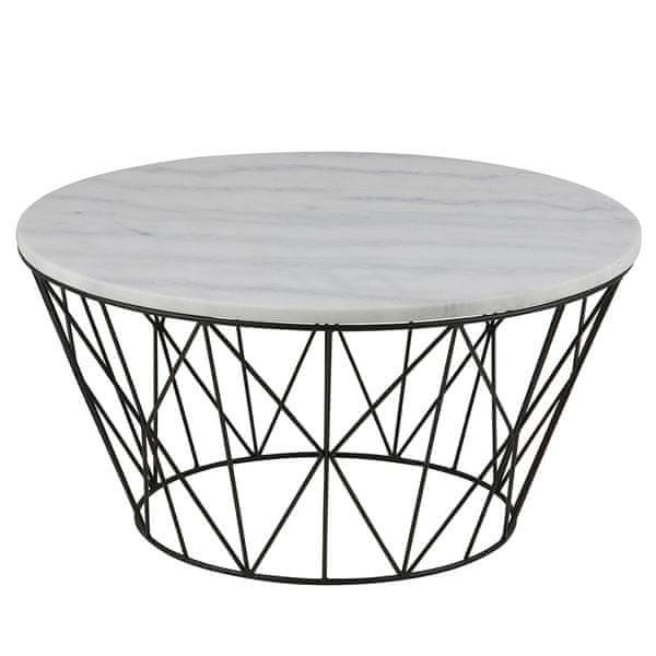 Design Scandinavia Konferenční stolek s mramorovou deskou Gone, 80 cm