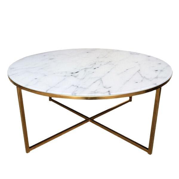 Design Scandinavia Konferenční stolek kulatý Alma, 80 cm, zlatá