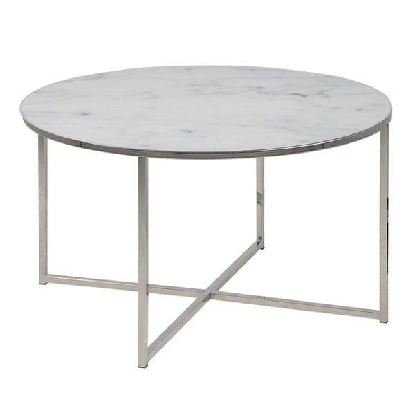 Design Scandinavia Konferenční stolek kulatý Alma, 80 cm, chrom