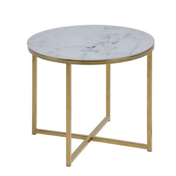 Design Scandinavia Konferenční stolek kulatý Alma, 50 cm, zlatá