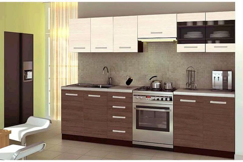 Kuchyně AMANNDA 2, 200/260 cm, ořech viva/priede arden