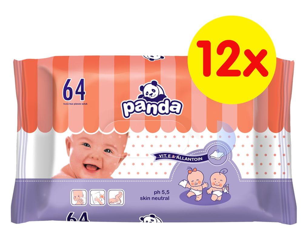 Panda Vlhčené ubrousky - 12 x 64 ks
