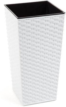 NOHEL GARDEN lonec za rastline Finezia Rattan, 57 cm, bel