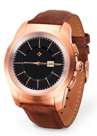MyKronoz ZeTime Premium Brushed pink gold-Brown vintage leather karóra - 39 mm