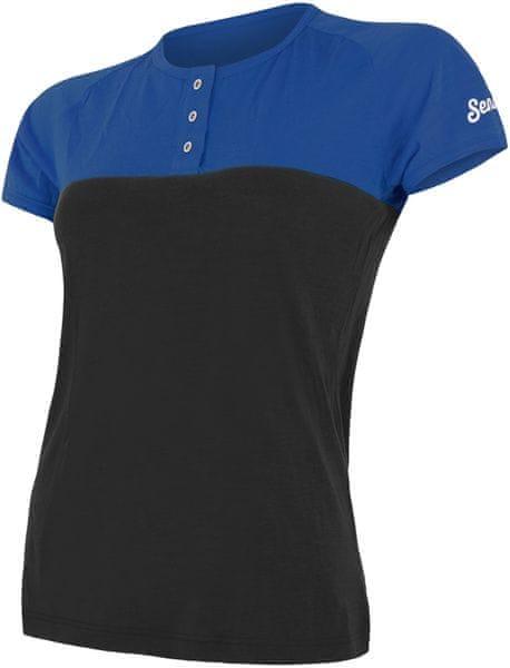 Sensor Merino Air PT dámské triko kr.rukáv s knoflíky modrá/černá L