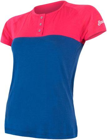 Sensor t-shirt damski z guzikami Merino Air PT magenta-niebieski L