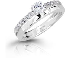 Modesi Slušivý prsten se zirkony M11102 stříbro 925/1000