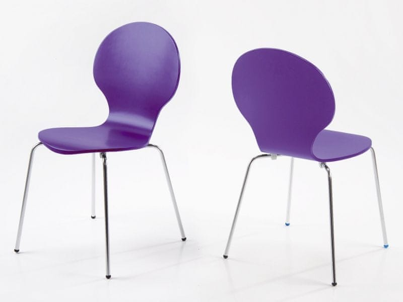 Design Scandinavia Jídelní překližková židle Line (SET 4 ks), fialová