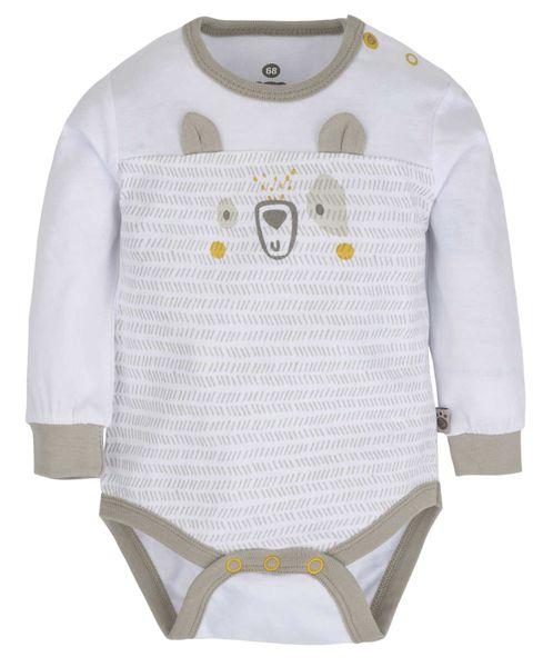G-mini Dětské body Medvídek - bílé/béžové, 56 cm