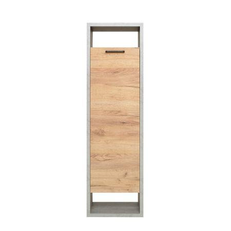 FARELA Regál s dveřmi Domo, 142 cm, beton/dub