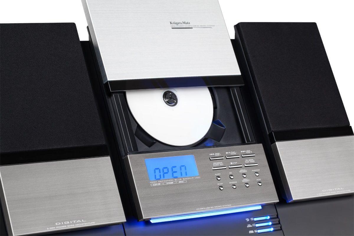 mikrosystém s CD Kruger&Matz KM7089 USB port SD slot AUX 3,5 mm Jack většina audio formátů