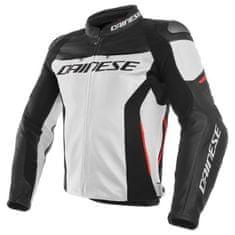 Dainese pánska kožená bunda na motorku RACING 3 biela/čierna/červená