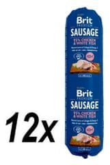 Brit salama za pse Sausage, piščanec in bela riba, 12 x 800 g