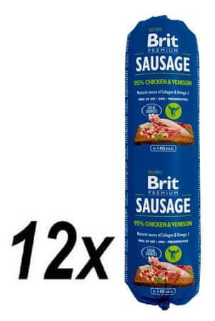 Brit salama za pse Sausage, piščanec in divjačina, 12 x 800 g