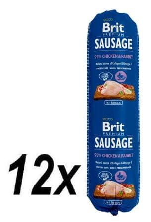 Brit salama za pse Sausage, piščanec in zajec, 12 x 800 g