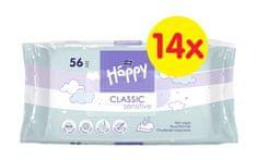 Bella Happy Classic Sensitive čistící ubrousky 56 x 14 ks