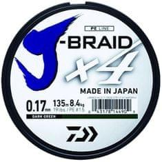 Daiwa Splétaná Šňůra J-Braid 4 Tmavě Zelená 270 m