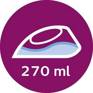 Velik 270 mm zbiralnik za vodo poskrbi, da lahko naenkrat zlikate več oblačil