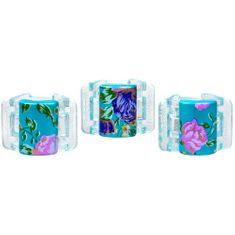 Linziclip Malý skřipec MINI 3 ks - perleťově tyrkysový s květinami