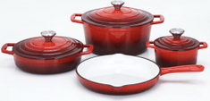CS Solingen Sada litinového nádobí Xanten, 7 ks červená