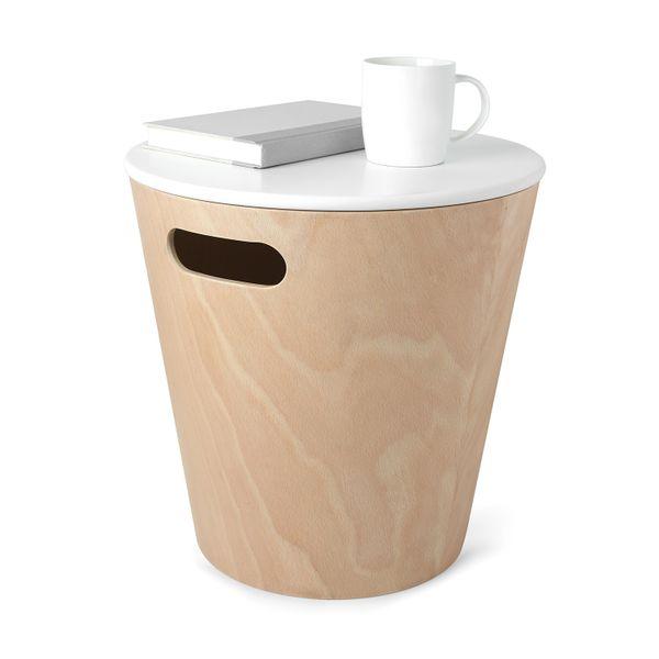Mørtens Furniture Odpadkový koš s víkem Andreas, dřevo/bílá