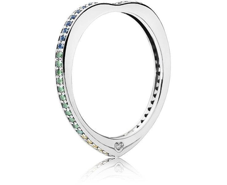 Pandora Stříbrný zamilovaný prsten s pestrobarevnými kamínky 197095NRPMX (Obvod 50 mm) stříbro 925/1000