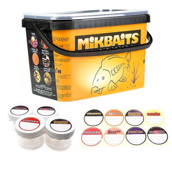 Mikbaits Sada 4 Kelímků + Samolepky + 5 l Kbelík