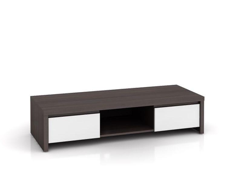 KASPIAN, televizní stolek RTV2S, bílý vysoký lesk