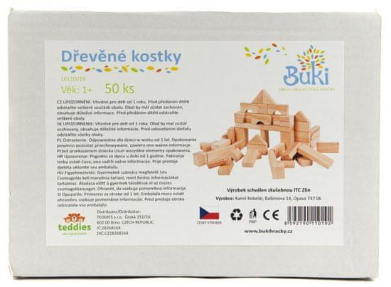 Teddies Drevené kocky prírodné, 50 ks