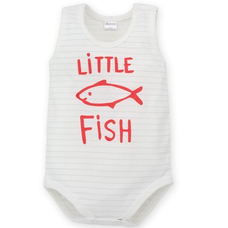 PINOKIO Chlapecké body Little Fish bez rukávu 86 biela