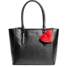 Guess Dámská kabelka Factory Women`s Tinley Pom Heart Charm Faux-Leath Tote Black
