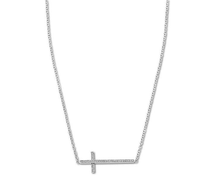 Lotus Style Ocelový náhrdelník s křížkem naležato LS1874-1/1