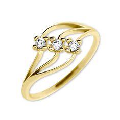 Brilio Dámský prsten s krystaly 229 001 00546 - 1,40 g zlato žluté 585/1000