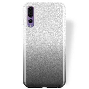 Silikonski ovitek z bleščicami Bling 2v1 za Huawei P20, srebrno siv