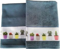 Framsohn Set kuchyňského ručníku a utěrky, Cactus