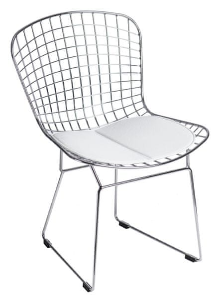 Mørtens Furniture Jídelní žídle William, chrom/bílá