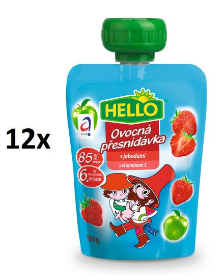 Hello Ovocná kapsička s jahodami 12x100g