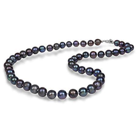 JwL Luxury Pearls Náhrdelník s pravými kovovo modrými perlami JL0265 striebro 925/1000