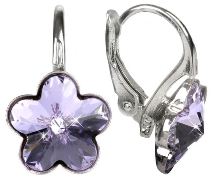 Troli Dívčí stříbrné náušnice Flower Violet E474410KLAgRHViolet