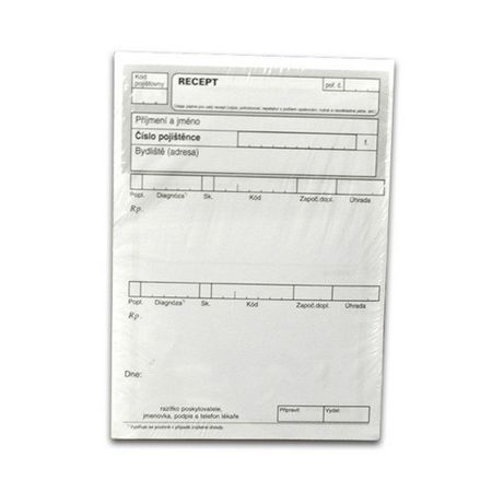 Lékařský recept A6, nelepený, 200 L